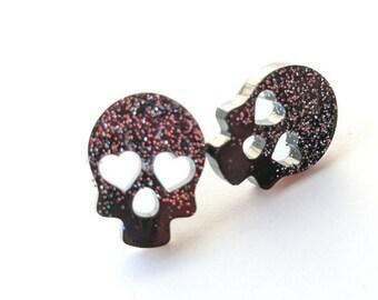 Glitter Resin Skull Heart Eyes   Halloween Earrings   Stud Earrings   Magnetic Stud Earrings