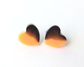 I Heart Halloween Earrings  Two Tone Heart Earrings   Black and Orange Jewelry   Stud Earrings   Magnetic Stud Earrings