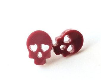 Halloween Earrings   Resin Skull Heart Eyes   Stud Earrings   Magnetic Stud Earrings