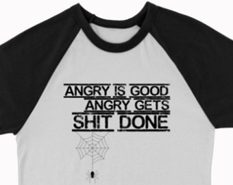 Anansi Angry is Good - Get Sh*t Done American Gods Novelty Unisex Raglan 3/4 Sleeve Crew Neck T-Shirt
