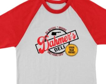 Dahmer's Deli Serial Killer Jeffrey Dahmer True Crime Fan 3/4 Sleeve Raglan Vintage Style T-Shirt