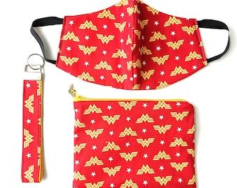 DC Wonder Woman Wallet, Keychain Gift Set Cosmetic Bag, Harley Quinn, Joker, Avengers Gift for Her, Back-to-School Supplies