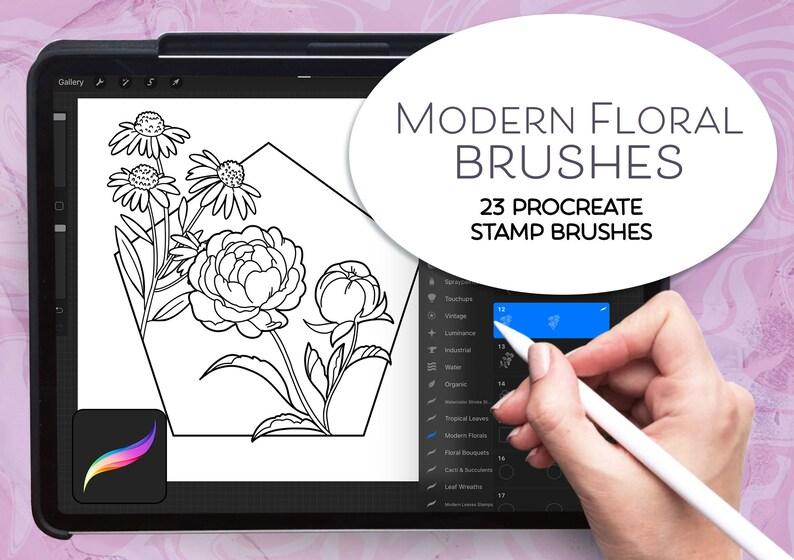 hand drawn illustrations digital stamps decorative stamps flowers procreate Procreate Digital stamp set modern floral illustrations
