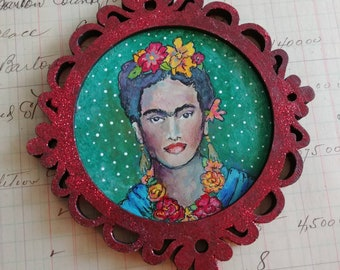 OOAK Frida/ Sacred Heart acrylic painting ornament original art