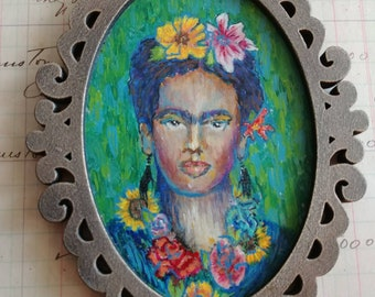OOAK Frida/ Van Gogh style botanical acrylic painting ornament original art