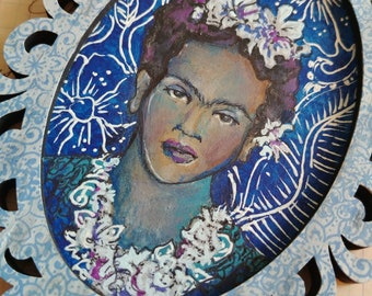 OOAK Frida Kahlo Moody Blues acrylic painting ornament original art