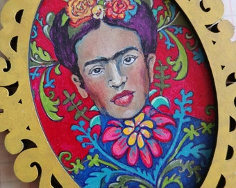 OOAK Frida/ Sacred Heart botanical acrylic painting ornament original art