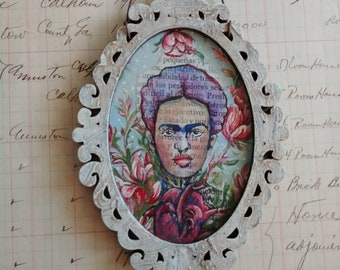 OOAK Frida/ Sacred Heart Shabby Chic acrylic painting ornament original art