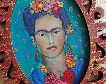 OOAK Frida Kahlo art queen acrylic painting ornament original art