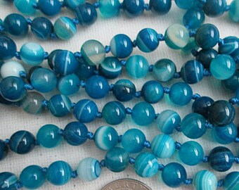 Sale, Knotted Gemstone Necklace, 8mm Blue Agate Necklace, Long Double Wrap Necklace, Colorful Long Wrap Necklace, 60 Inch Blue - hkn20