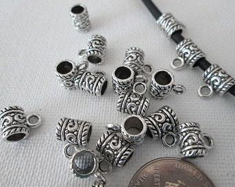 10 Metal Tube Bails, 11x9mm, Pendant Charm Holder, Silver Tube Bail Beads, Charm Slider Beads - bm104