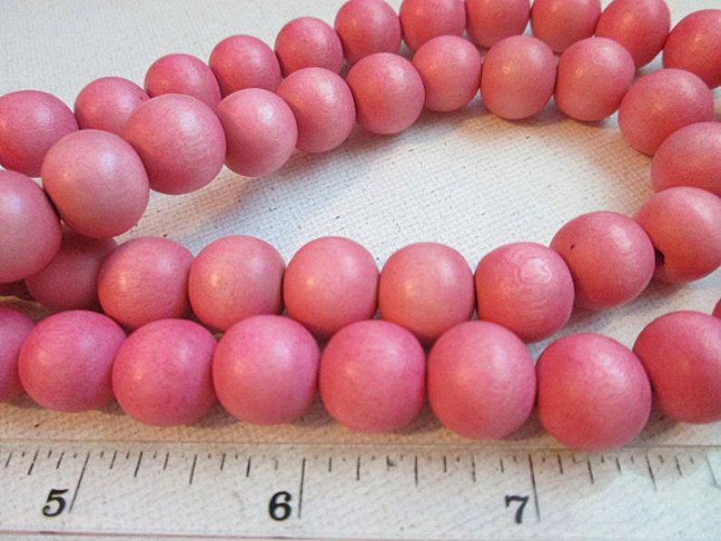 Wood Round Beads Dark Pink 8mm 16 Inch Strand