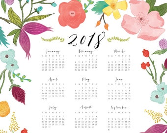2018 Year at a Glance Botanical Wall Calendar — 11x14 and 8.5x11 DIGITAL DOWNLOAD