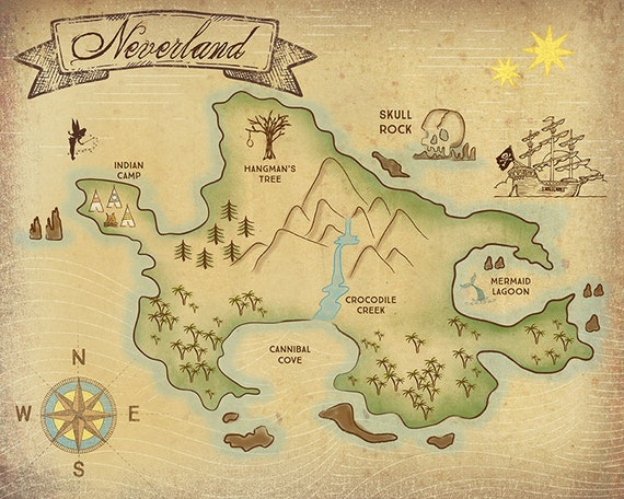 Map Of Neverland Neverland Map 11x17 16x20 24x36 | Etsy