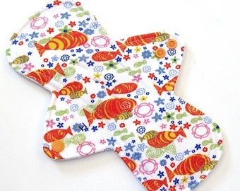 Reusable Menstrual Pad 9 inch Red and Purple Brush Strokes