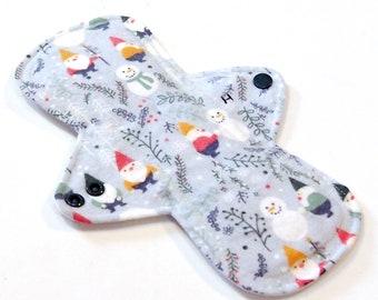 PUL 9 inch Reusable Cloth Menstrual pad Snow Gnomes HEAVY flow -bamboocotton core cotton flannel top