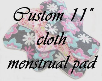 """MADE TO ORDER - 11"""" Reusable Cloth Menstrual pad - choose your fabric and absorbency"""