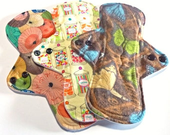 MADE TO ORDER - Reusable Cloth Menstrual pads- set of three 9 inch pads - choose your fabric and absorbency