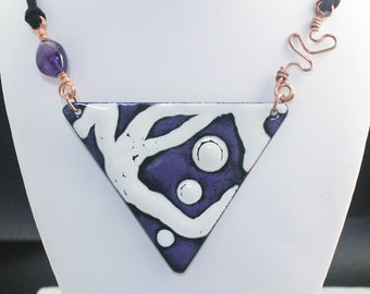 Handcrafted Enamel on Copper Triangle Shaped Necklace