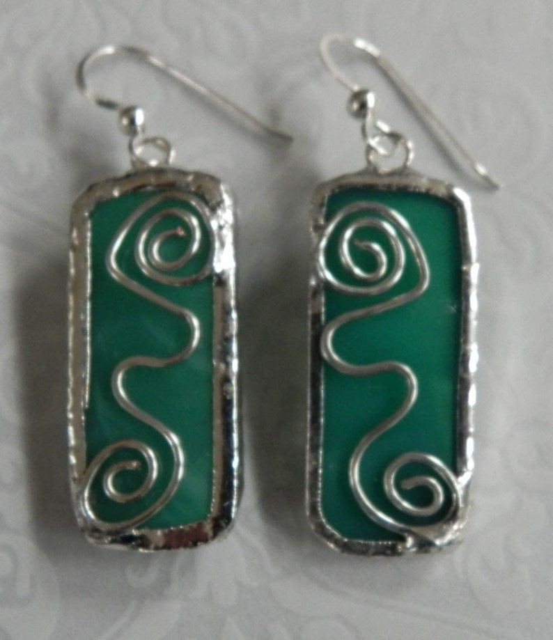 Teal Translucent  Handcrafted  Stained Glass Dangle Earrings image 0