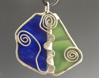 Unique Royal Blue and Green Stained Glass Pendant with Wire Detail