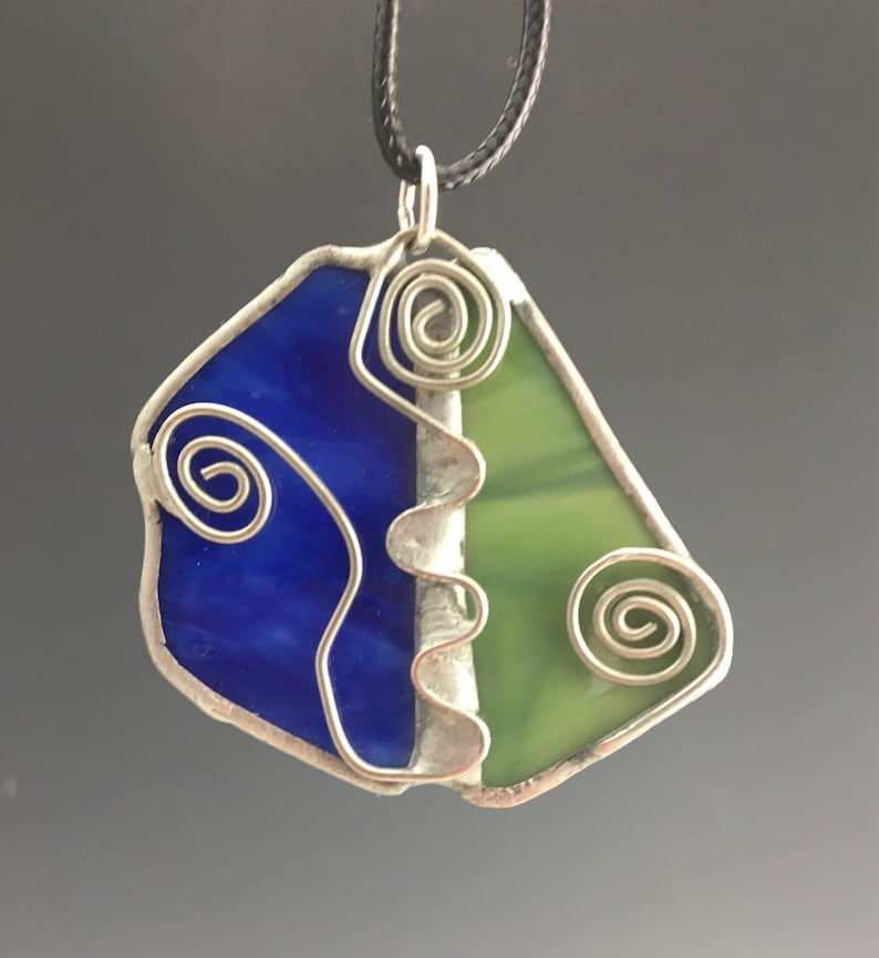 Unique Royal Blue and Green Stained Glass Pendant with Wire image 0