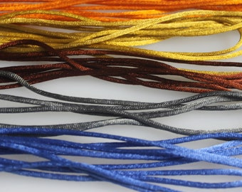 Lot of almost 23  Yards of Assorted colors of  2 mm Satin Cord,  15% Diiscount
