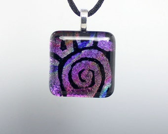 Square Multi Color Dichroic Glass Pendant with Hand Etched Abstract Design