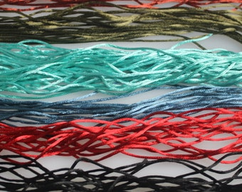 Lot of over 60  Yards of Assorted colors of  2 mm Satin Cord,  15% Diiscount