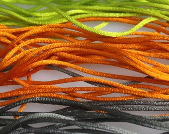 Lot of  27 3/4  Yards of Assorted colors of  2 mm Satin Cord,  15% Diiscount