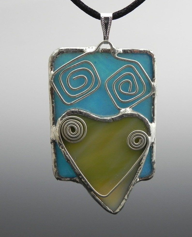Turquoise Rectangle and Heart Stained Glass Pendant image 0