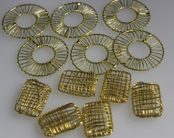 """Goldtone Jewelry Components- 6 - 1 1/2 Round & 6 - 1 1/8"""" rectangle"""