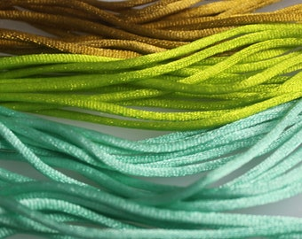 Lot of  19 1/3  Yards of Assorted colors of  2 mm Satin Cord,  15% Diiscount
