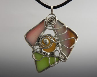 Abstract Multi Piece Stained Glass Pendat with Wire Detail