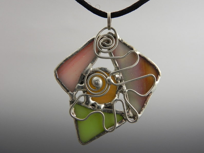 Abstract Multi Piece Stained Glass Pendat with Wire Detail image 0