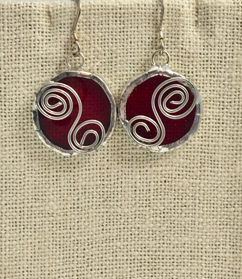 Translucent Red Stained Glass Circle Earrings with Wire Accent image 0