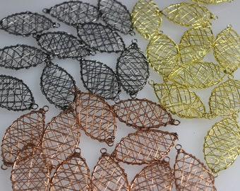 Thirty (30)  Oval Jewelry Components with Loop at Each End, Brass, Copper, Black