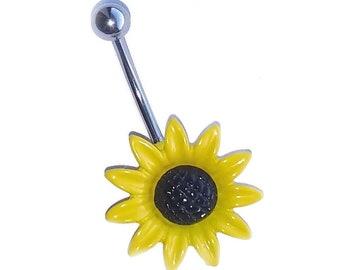 "Sunflower Acrylic Enamel Painted Belly Ring Custom Length Extra short 1/4"" to Extra long 1"" sizes."