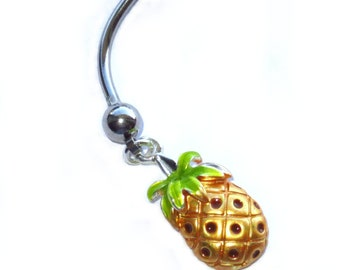 """Pineapple Enamel Painted Belly Ring Custom Length Extra short 1/4"""" to Extra long 1"""" sizes."""