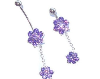 """Purple Double Flower Dangle Belly Ring Custom Length Extra short 1/4"""" to Extra long 1"""" sizes."""