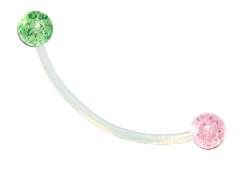 Flexible Sports or Pregnancy Belly Ring Several Colors UltraFlex bar with 5mm glitter balls.