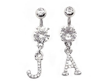 """Double Gem INITIAL Belly Button Ring. Extra short 1/4"""" to Extra long 1"""" bars."""