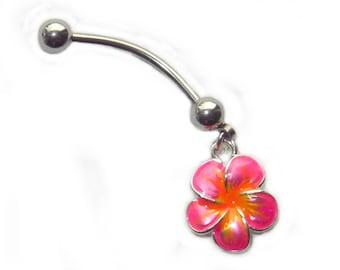 "Pink Plumeria Enamel Painted Belly Ring Custom Length Extra short 1/4"" to Extra long 1"" sizes."