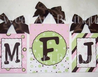 Pink Brown Green Stripes Dots Circles Custom canvas letter name sign wall Monogram Set INITIALS art handpainted white