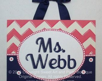Personalized Chevron teacher name sign classroom wall art teacher gift teacher door sign teacher name art Salmon Pink Navy Blue dots custom