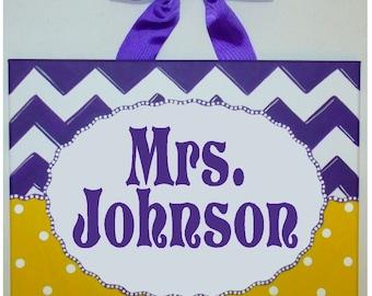 Personalized Chevron teacher name sign classroom wall art teacher gift teacher door sign teacher name art purple gold yellow dots custom
