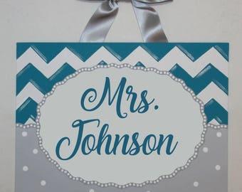 Personalized Chevron teacher name sign classroom wall art teacher gift teacher door sign teacher name art Teal Gray white dots custom