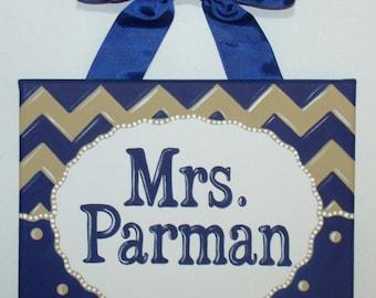 Personalized Chevron teacher name sign classroom wall art teacher gift teacher door sign teacher name art navy blue tan white dots custom