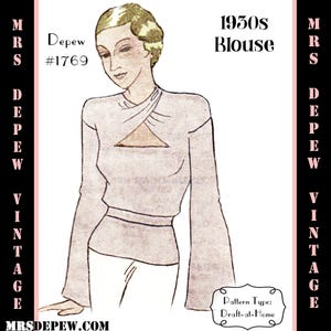 1930s Sewing Patterns- Dresses, Pants, Tops Vintage Sewing Pattern 1930s Wrap Neck Blouse in Any Size- Plus Size Included- Depew C-1769 -INSTANT DOWNLOAD- $9.50 AT vintagedancer.com