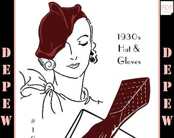 Vintage Sewing Pattern 1930s Ladies' Hat & Gloves Depew 1021 -INSTANT DOWNLOAD-